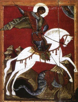 Чудо св. Георгия о змие. Конец XIV в. Государственный Русский музей, СПб
