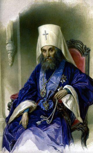 Митрополит Филарет (Дроздов). Акварель В.И. Гау. 1854 г.