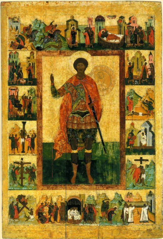 Ікона святого великомученика Феодора Стратилата в житії. XVI ст.