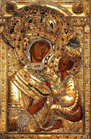 Явленная чудотворная Тихвинская иконы Пресвятой Богородицы, находящаяся в Тихвинском монастыре.