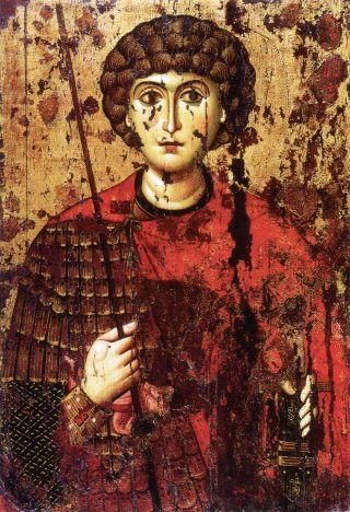 Святой великомученик Георгий. Икона начала XII в. Успенский собор Московского Кремля