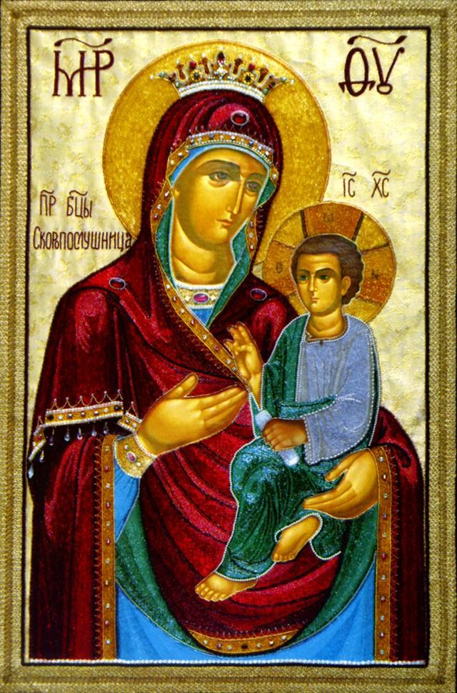 """""""Скоропослушница """" икона Божией Матери.  Из статьи.  Шамордино, вышитые иконы монастыря."""