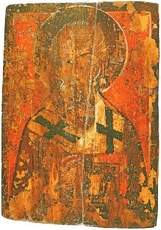 Святитель Николай. Икона. XV в. 24х17,2 см. Из собора Иоанно-Предтечинского монастыря. Псковский музей.