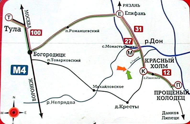 Схема проезда на Куликово поле