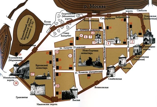 План Коломенского кремля.