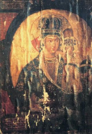 Обнаруженный в 1993 году оригинал Трубчевской иконы Божией Матери.