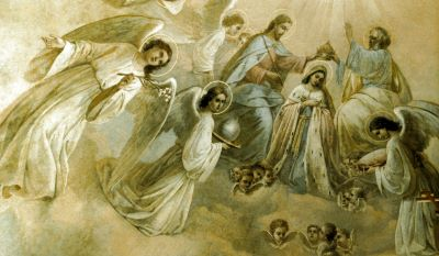 Коронация Пресвятой Богородицы. Роспись купола алтаря Покровской церкви
