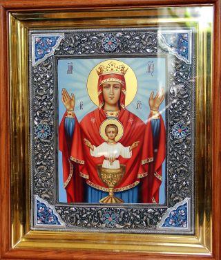 Неупиваемая Чаша икона Божией Матери в ризе с камнями. Галерея икон Щигры.